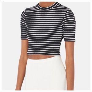Topshop Black & White Stripe Thick Cotton Crop Top